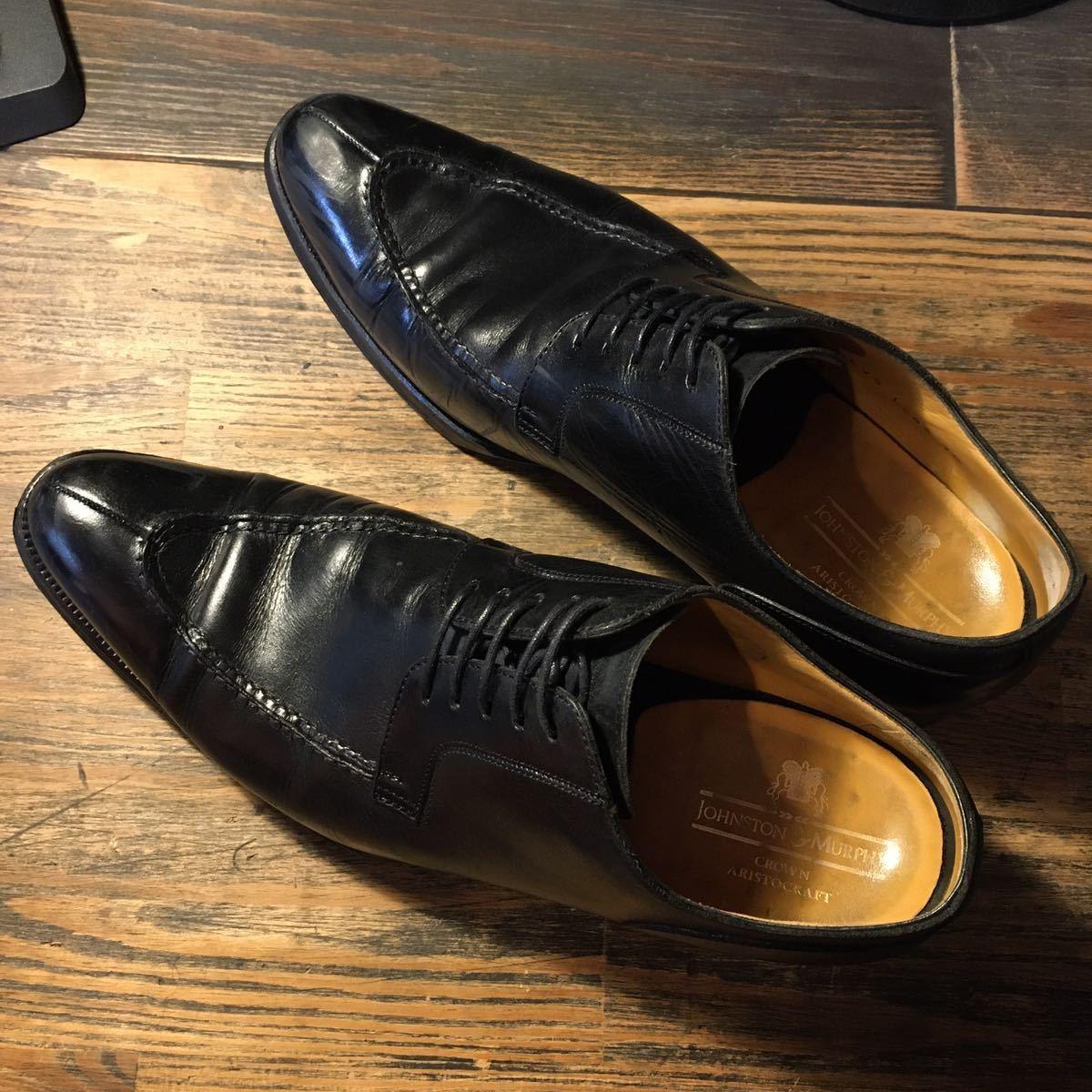 JOHNSTON&MURPHY ジョンストン&マーフィー 革靴 ビジネスシューズ 黒 本革 レザーシューズ ドレスシューズ ビブラムソール vibram_画像5