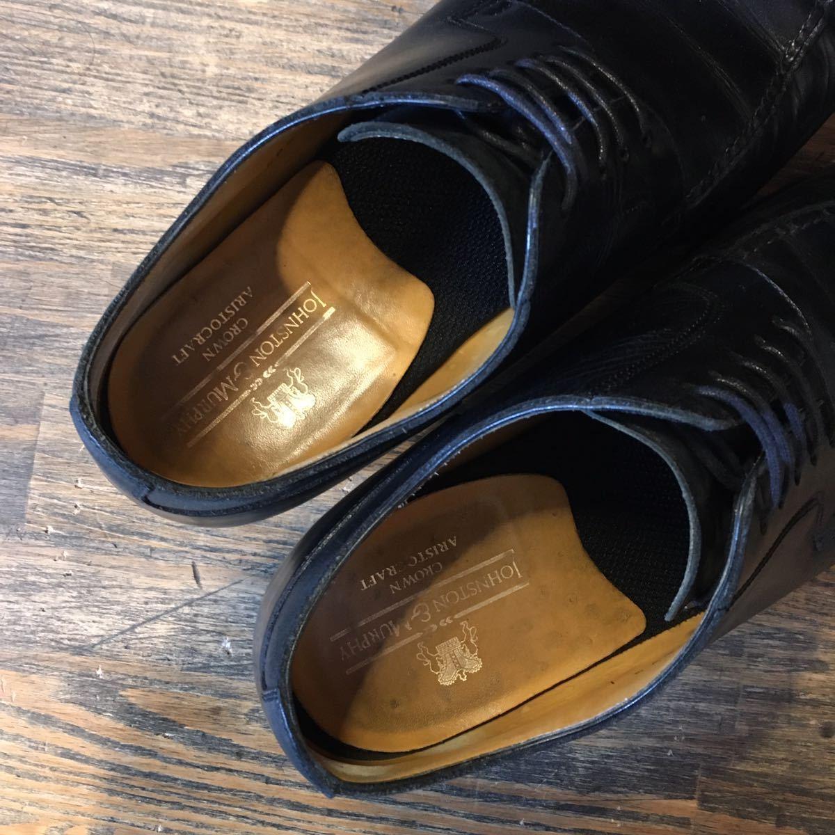 JOHNSTON&MURPHY ジョンストン&マーフィー 革靴 ビジネスシューズ 黒 本革 レザーシューズ ドレスシューズ ビブラムソール vibram_画像7