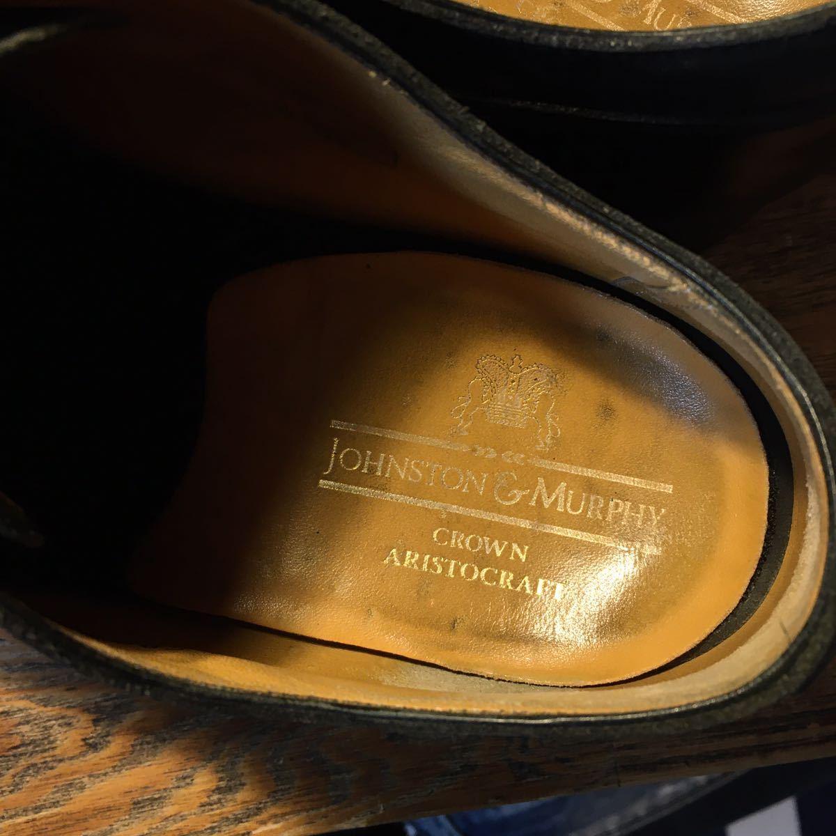 JOHNSTON&MURPHY ジョンストン&マーフィー 革靴 ビジネスシューズ 黒 本革 レザーシューズ ドレスシューズ ビブラムソール vibram_画像10
