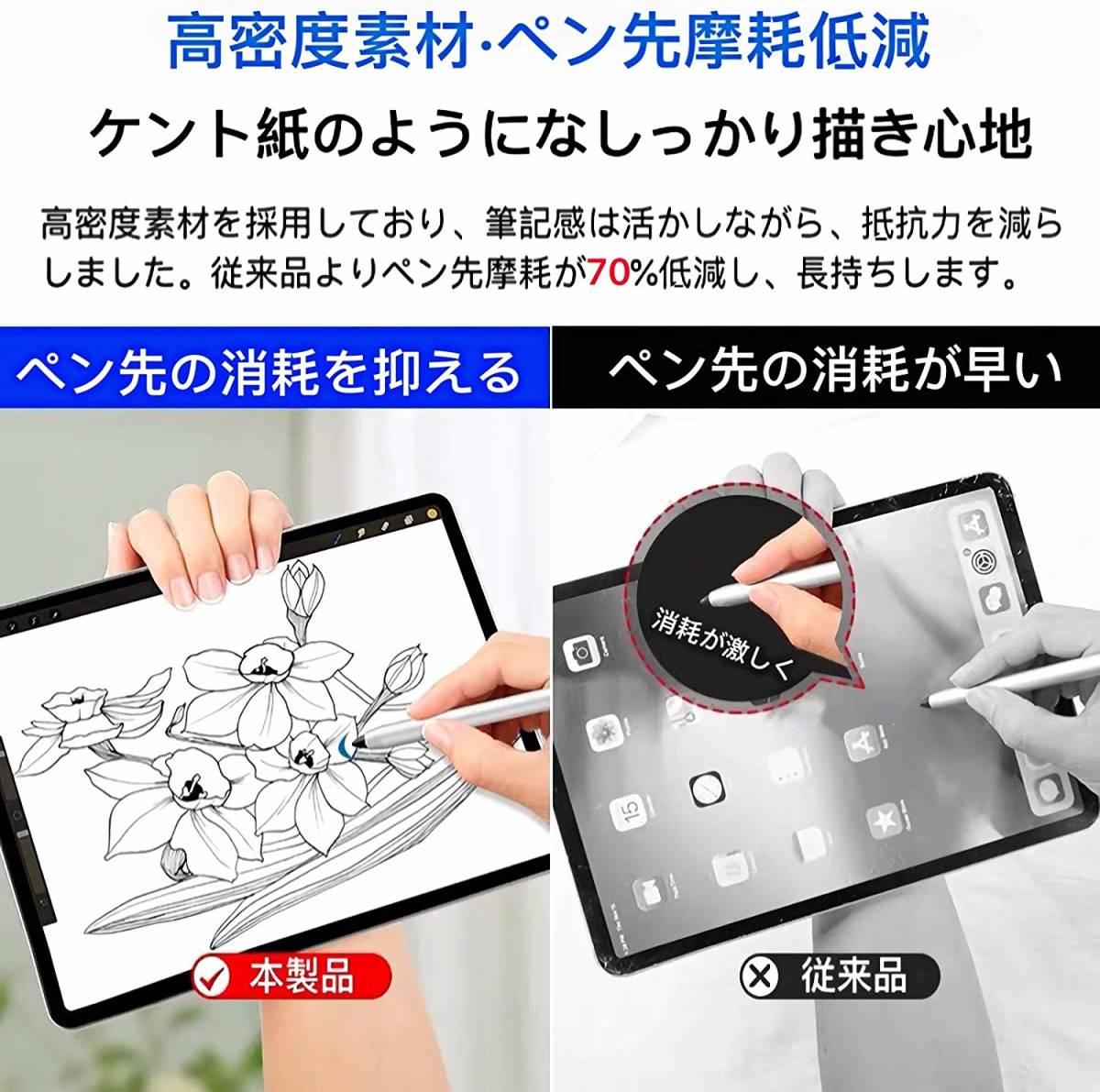 iPad Pro 12.9 2017モデル用 ペーパーライク フィルム 紙のような描き心地 反射低減 非光沢 アンチグレア ペン先磨耗防止 保護フィルム_画像7