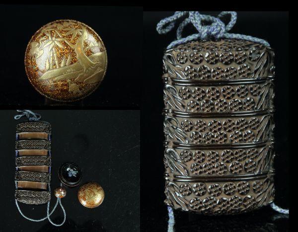 JAN163 木製漆塗 堆黒印籠 金蒔絵梨地根付 御締玉 提物