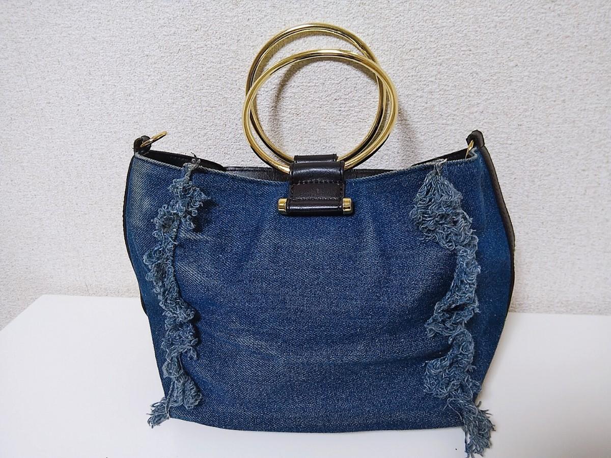 デニムミニショルダーバッグ青紺ブルー