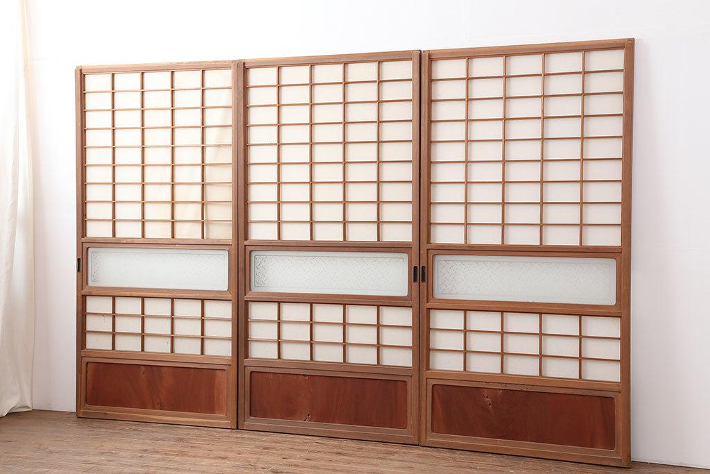 R-036766 レトロ建具 昭和レトロ 昭和中期 横額入り!和の趣漂う障子戸3枚セット(ガラス帯戸、引き戸、建具)(R-036766)_画像1
