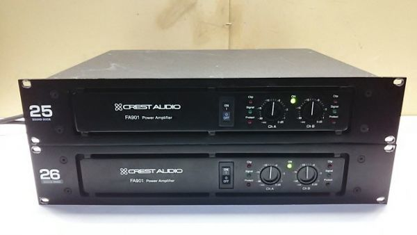 【1円スタート!】CREST AUDIO パワーアンプ FA901 2台セット 音響機器 動作良好 ハ0863