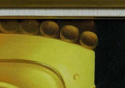 【依頼品】作者不明 阿弥陀佛頭 油彩画 サイン印譜有り 共シール F6 額有 検索ワード(東山魁夷/平山郁夫/横山大観) 55_画像3