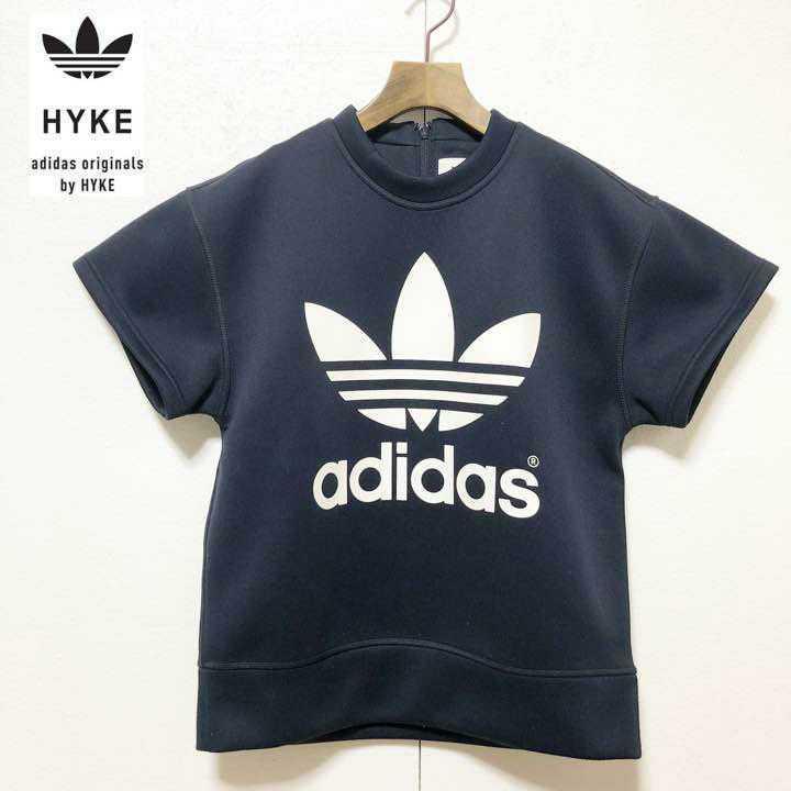 HYKE adidas originals ハイク アディダス オリジナルズ コラボ ポリエステルシャツ Mサイズ スウェットトレーナー ネイビー 半袖