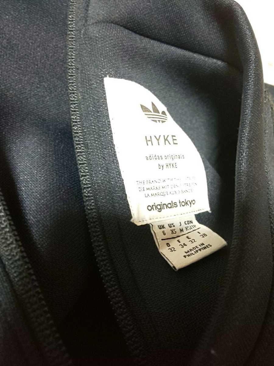 HYKE adidas originals ハイク アディダス オリジナルズ コラボ ポリエステルシャツ Mサイズ スウェットトレーナー ネイビー 半袖_画像4