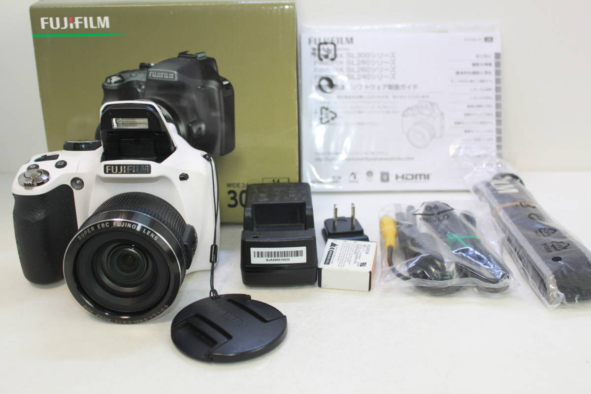 100円出品 FUJIFILM デジタルカメラ FinePix SL300 光学30倍 ホワイト F FX-SL300WH