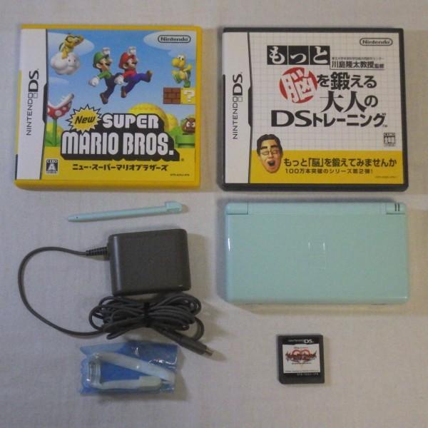 Nintendo/任天堂 DS Lite ライト+ソフト3本付き USG-001 アイスブルー ゲーム機 動作確認済み 60