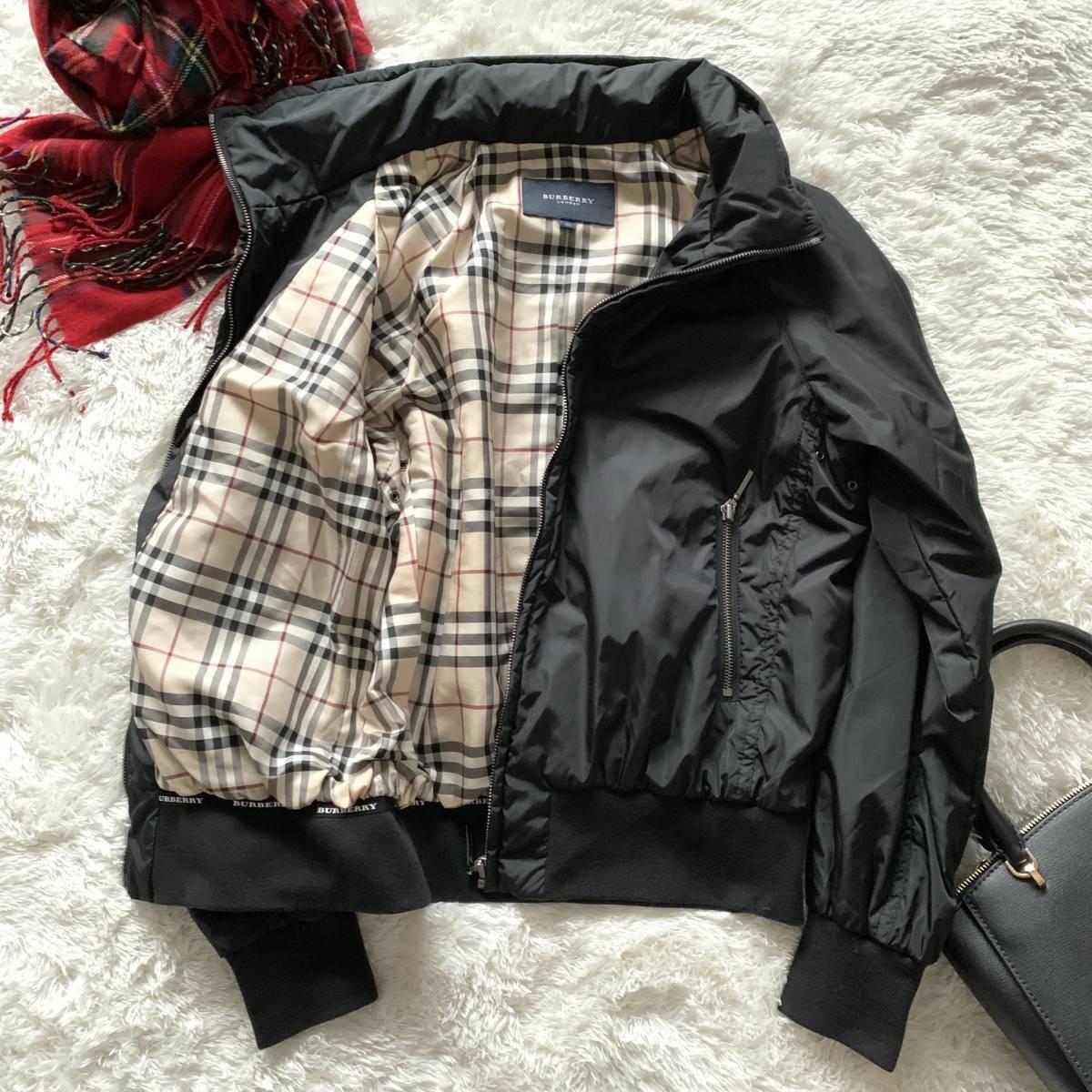 極美品 バーバリーロンドン ナイロン ジャケット ブラック 黒 38 レディース ブルゾン MA-1 フード付き ノバチェック BURBERRY LONDON_画像4