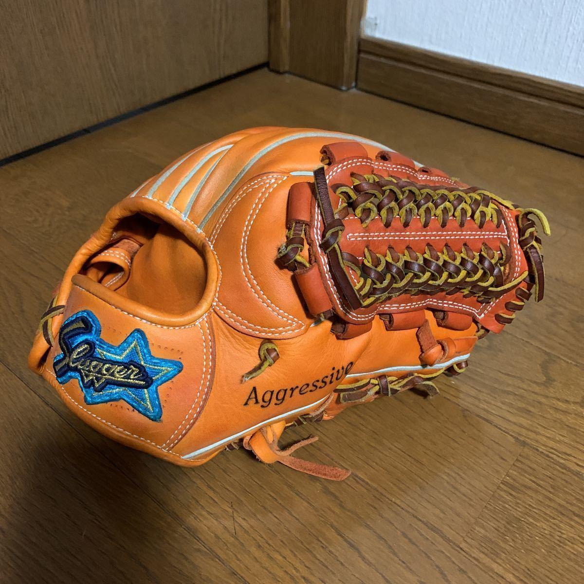 久保田スラッガー KSN-MS-1 オレンジ スラッガー東京支店で型付け済、ラベル交換済 (リストバンドのおまけ付き) 軟式内野手投手用