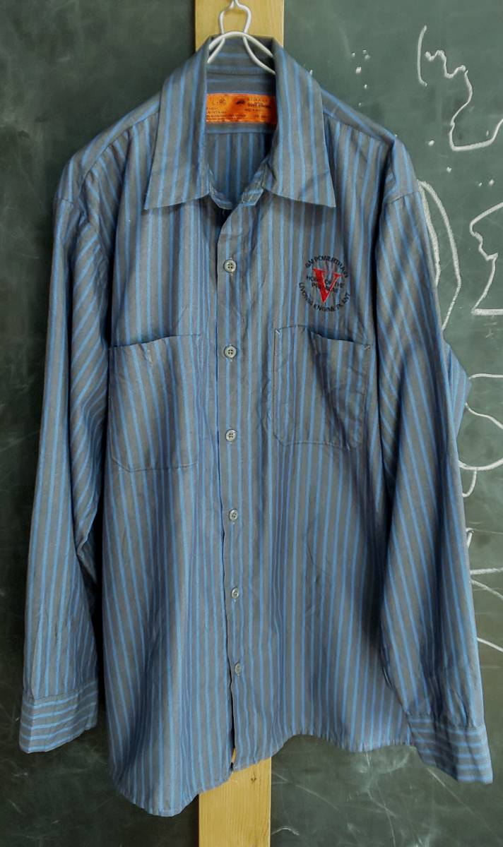 ★送料無料★ US古着 RED KAP(レッドキャップ) ヴィンテージワークシャツ ストライプ ロゴ刺繍 3L位_画像1