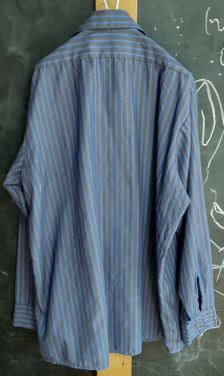 ★送料無料★ US古着 RED KAP(レッドキャップ) ヴィンテージワークシャツ ストライプ ロゴ刺繍 3L位_画像2
