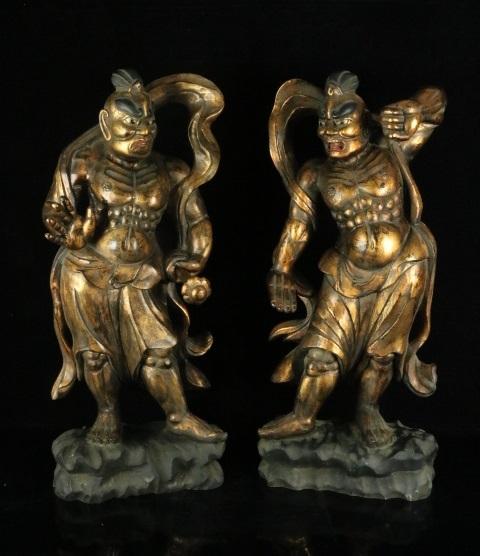 仏教美術 時代木彫 特大91cm 一本彫金彩色金剛力士一対 阿形吽形 細密彫刻 仁王像 c-91