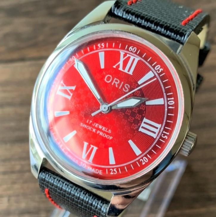 O19r■【1円スタート】オリス ORIS 1970's レッド 赤 腕時計 メンズ 機械式手巻き アンティーク ヴィンテージ 17石 OH済み