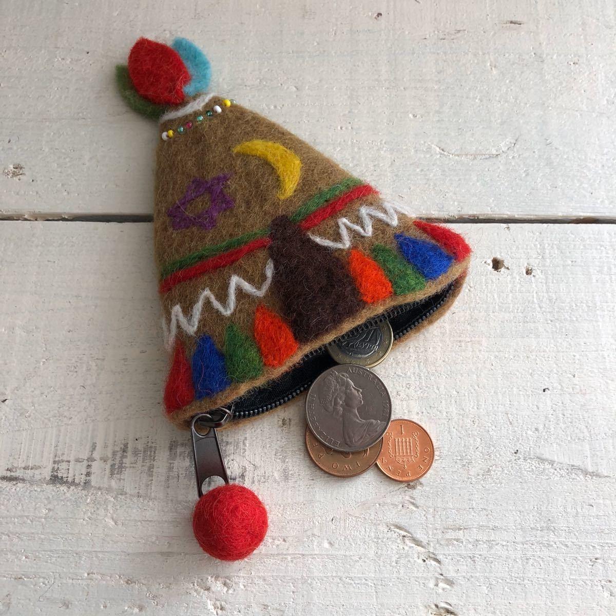 オリジナル 羊毛フエルト  ティピー ポーチ ハンドメイド ブラウン