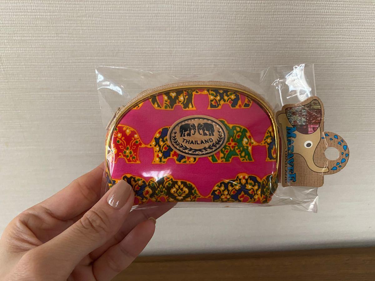 タイ土産 エレファント柄ポーチ ピンク