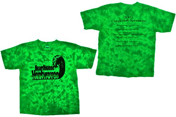 S-6644★送料無料★美品★Hearthstone ハースストーン 2003年 Heatwaves★グリーン緑色 絞り染めタイダイ 両面プリント 半袖Tシャツ M