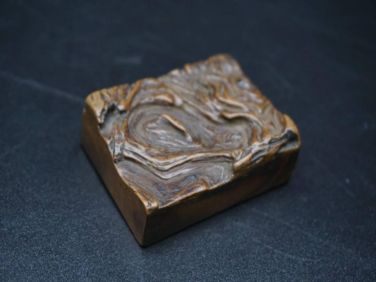 時代 根付 木製 提げ物 4.8x3.6x1.6cm 22g (LYUS34