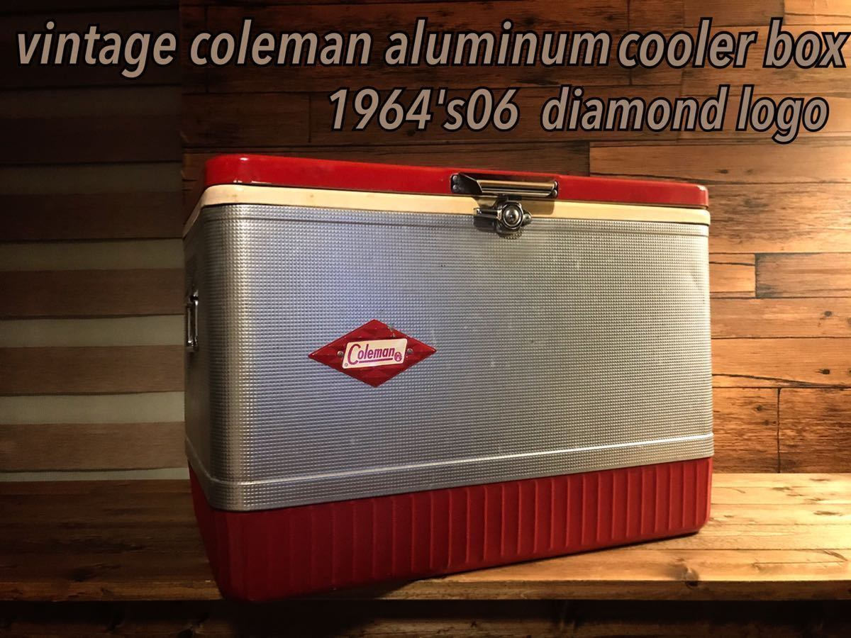 1964's ヴィンテージコールマンクーラーアルミボックスダイヤロゴレッド!デザイン存在感抜群!市場に出ない希少カラー個性派キャンパーに