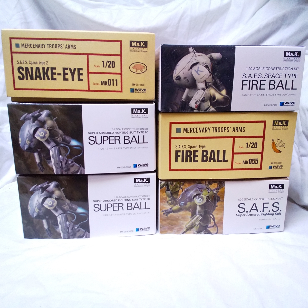 6個セット! Wave 1/20 SNAKE-EYE FIRE BALL SUPER BALL S.A.F.S./Ma.K. S.F.3.D マシーネンクリーガー MASCHINEN ウェーブ SF3D
