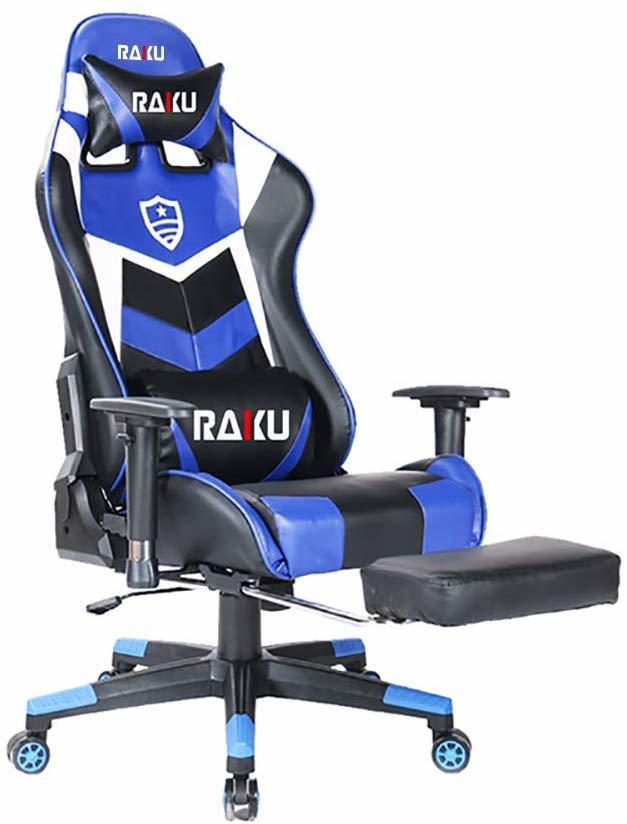 RAKU ゲーミングチェア ブルー オットマン付き ワークチェア 耐荷重200kg 180°リクライニング 多機能 可動式アームレス ロッキング