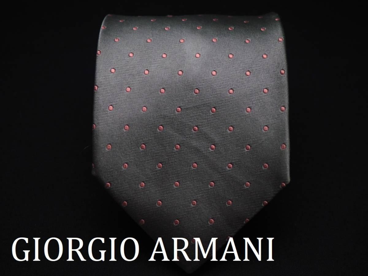 美品【GIORGIO ARMANI】アルマーニ ITALY イタリア製 シルバーグレー ピンク ドット柄 USED オールド ブランドネクタイ SILK100% シルク
