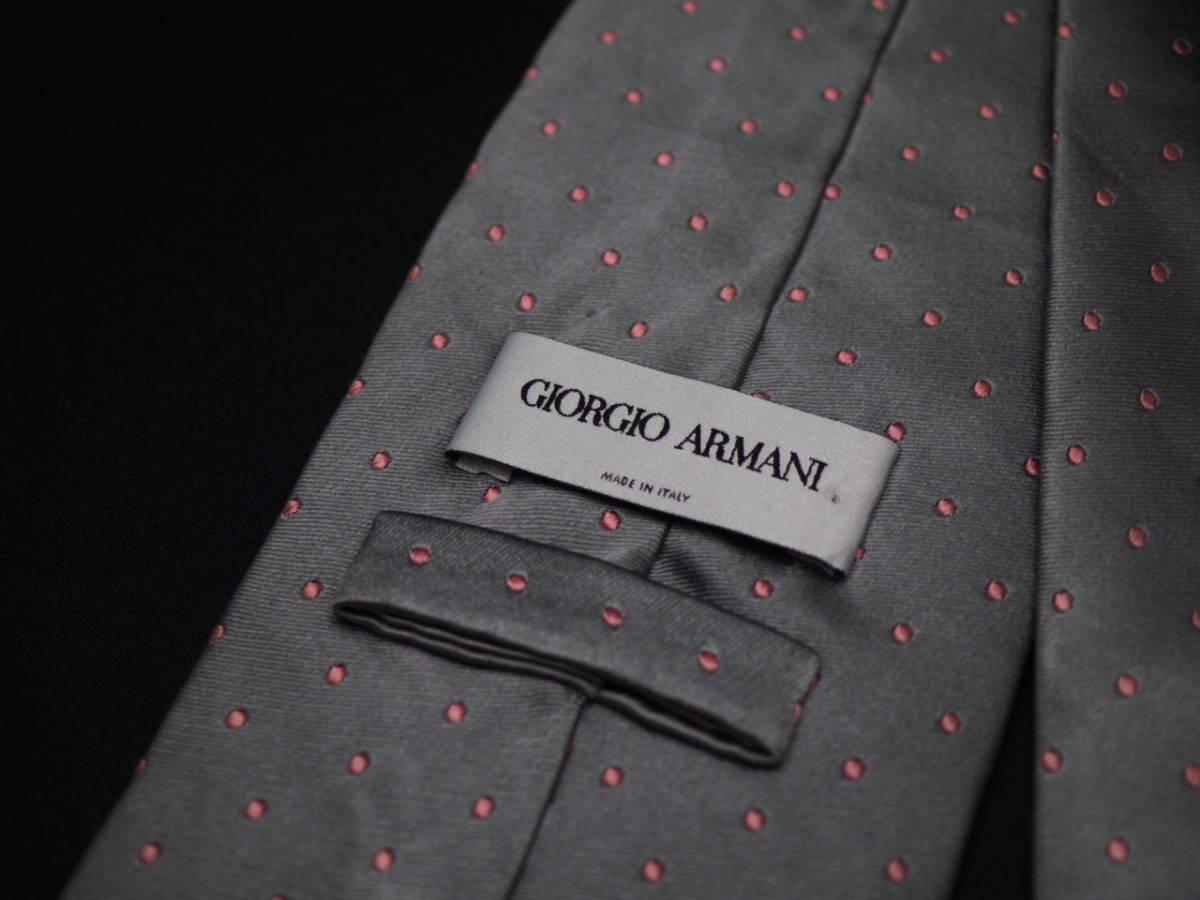 美品【GIORGIO ARMANI】アルマーニ ITALY イタリア製 シルバーグレー ピンク ドット柄 USED オールド ブランドネクタイ SILK100% シルク_画像4