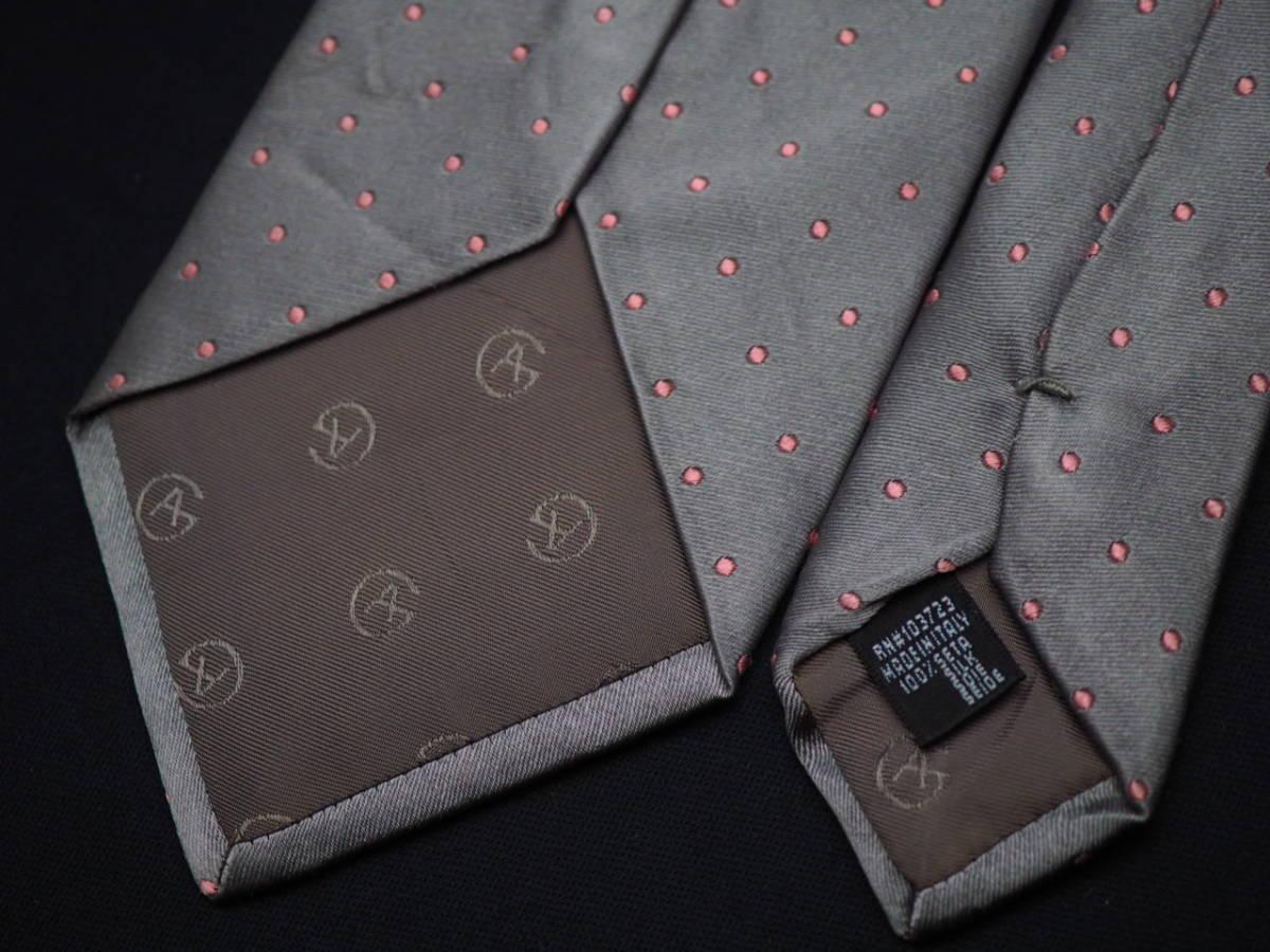 美品【GIORGIO ARMANI】アルマーニ ITALY イタリア製 シルバーグレー ピンク ドット柄 USED オールド ブランドネクタイ SILK100% シルク_画像5