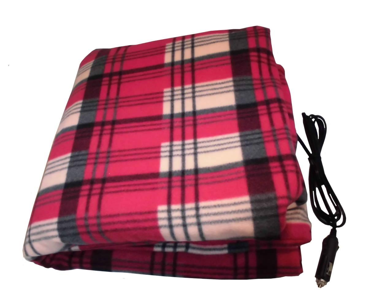 ヒートブランケット 電気毛布 大(150cm×110cm) 防寒保温 シガーソケット12V用(レッド 赤) (赤)