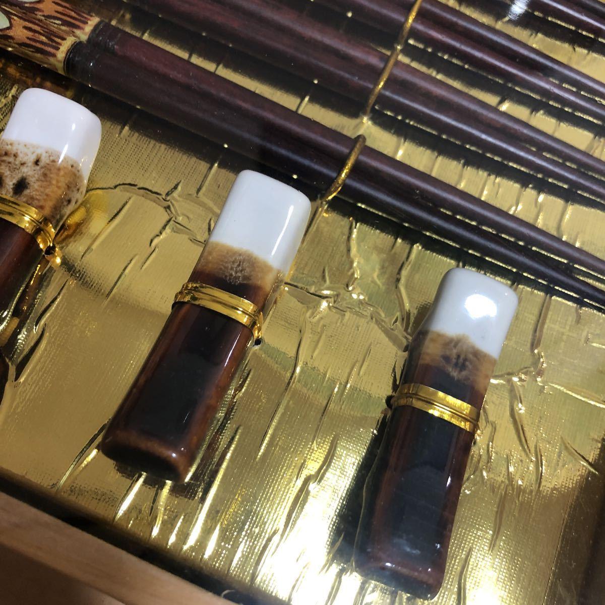 新品 未使用 箸 セット 箸置き 小皿 5膳 陶器 食器 5セット 木箱入り_画像2