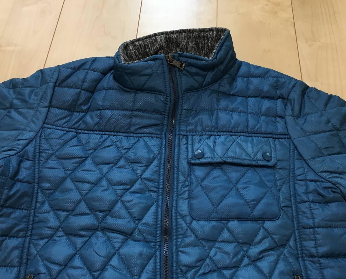 新品1657 欧州ALPACROSS ダウンハイブリッドジャケット L ブルー_画像2