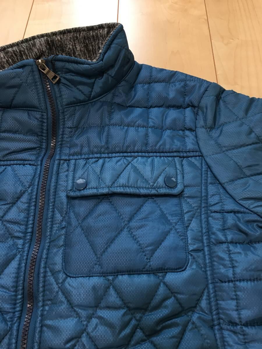 新品1657 欧州ALPACROSS ダウンハイブリッドジャケット L ブルー_画像3