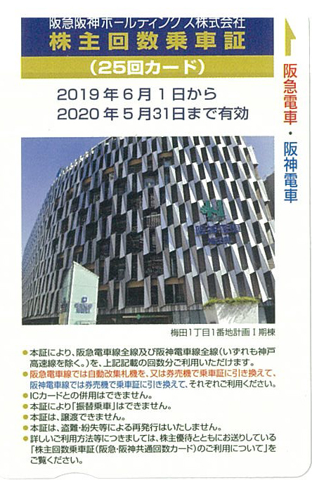 阪急阪神ホールディングス 株主優待回数乗車証 25回カード 05月31まで 送料無料(ミニレター)