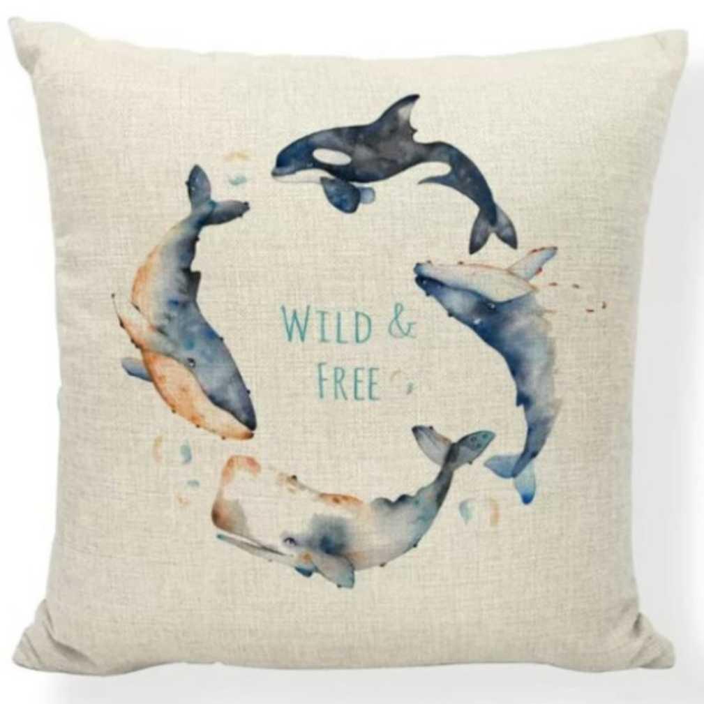 新品未使用 送料無料 クジラ シャチ クッションカバー インテリア雑貨 海の生き物 くじら オルカ グッズ おしゃれ かわいい