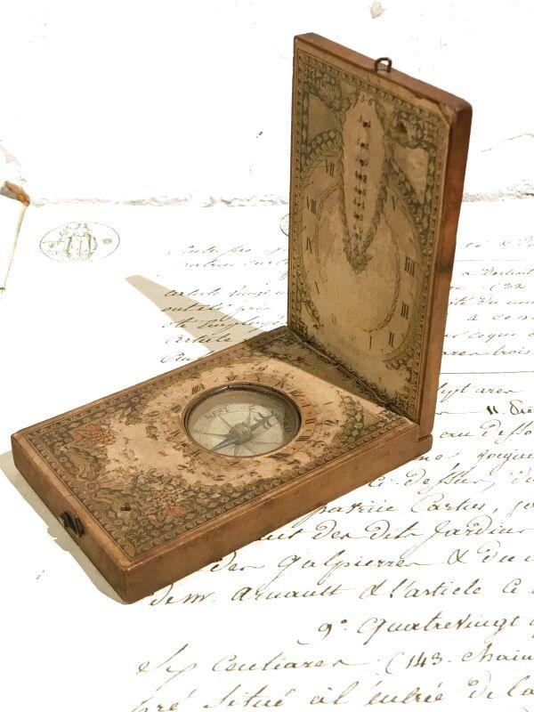 「18世紀 ドイツ アンティーク 日時計 コンパス 方位磁石 ニュルンベルク 古地図 (船 ボート コンパス)」の画像