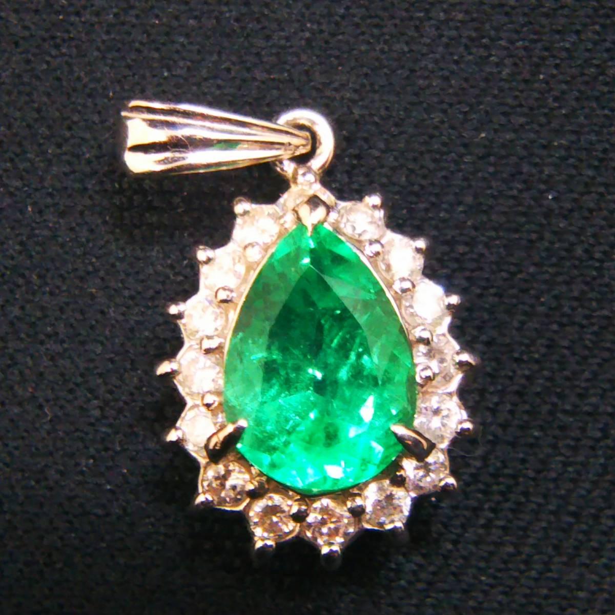 Pt900 天然エメラルド1.40ct ダイヤモンド0.33ct エメラルド レディース アクセサリー ネックレストップ トップ 鑑別書付き 総重量 3.2g_画像1