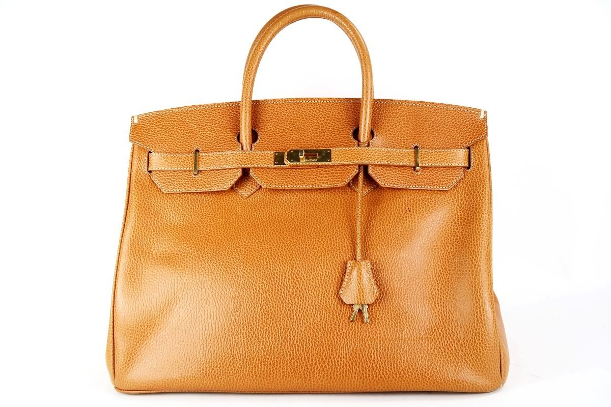 【美品】HIGH CLASS ハイクラス バーキン型 40 高級ハンドバッグ 本革 レディース ブランド 鞄 ゴールド金具【FL10】