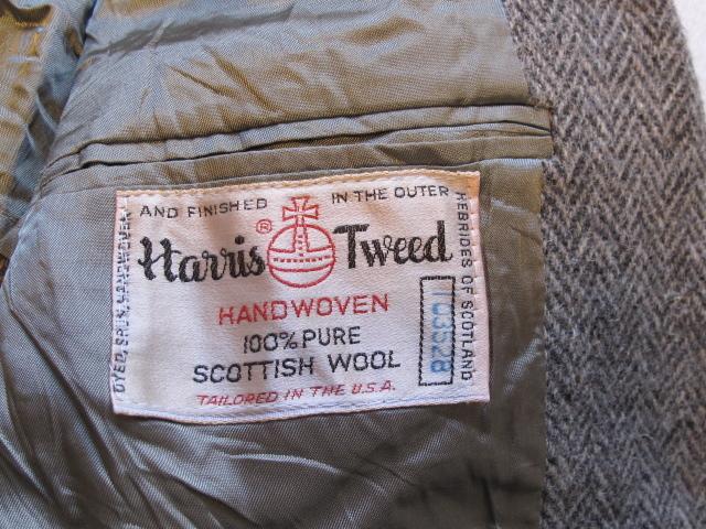◆美品 70'sビンテージ Hunter Haig USA製 Harris Tweed ハリスツイード ヘリンボーン織 テーラードジャケット 最高級ピュアウール100%_画像3