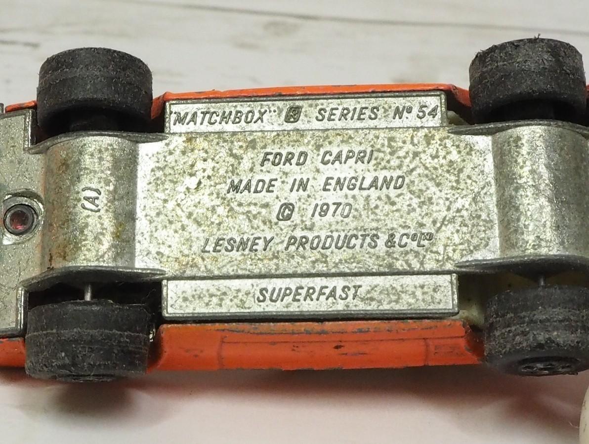 MATCHBOX Superfast #54【FORD CAPRIピンク桃色フォード カプリ】イギリス製ミニカー■レトロLESNEY 1970マッチボックス【中古】送料込_画像3