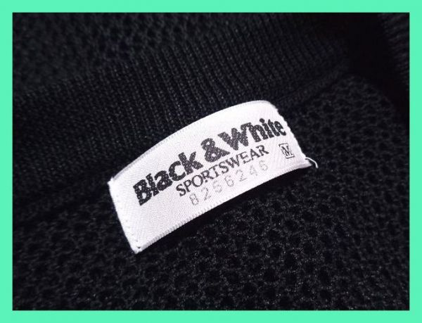 美品☆ブラックアンドホワイト☆麻混☆ビッグテリア柄☆シースルーメッシュニットベスト 日本製 サイズM BLACK&WHITE メンズ 紳士 ゴルフ_画像5