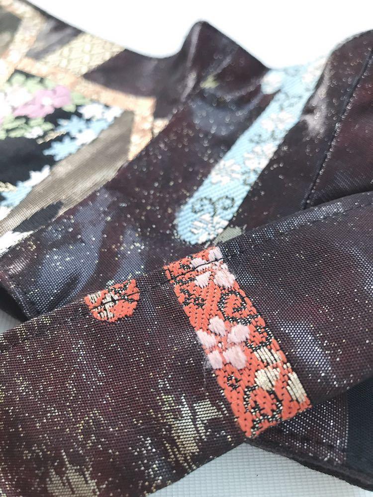 【心和】帯リメイク サッシュベルト 刺繍 植物文様 花柄 金糸 和柄 コルセット 太ベルト 黒色 【デザイナー一押し】_画像8