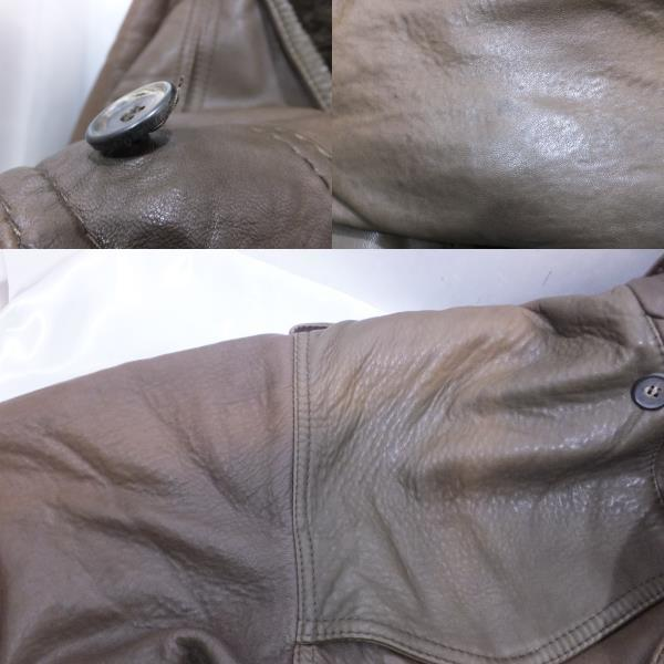 RUFFO ルッフォ ショート丈レザージャケット サイズM~L程度 ブラウン系 メンズレディース_画像4
