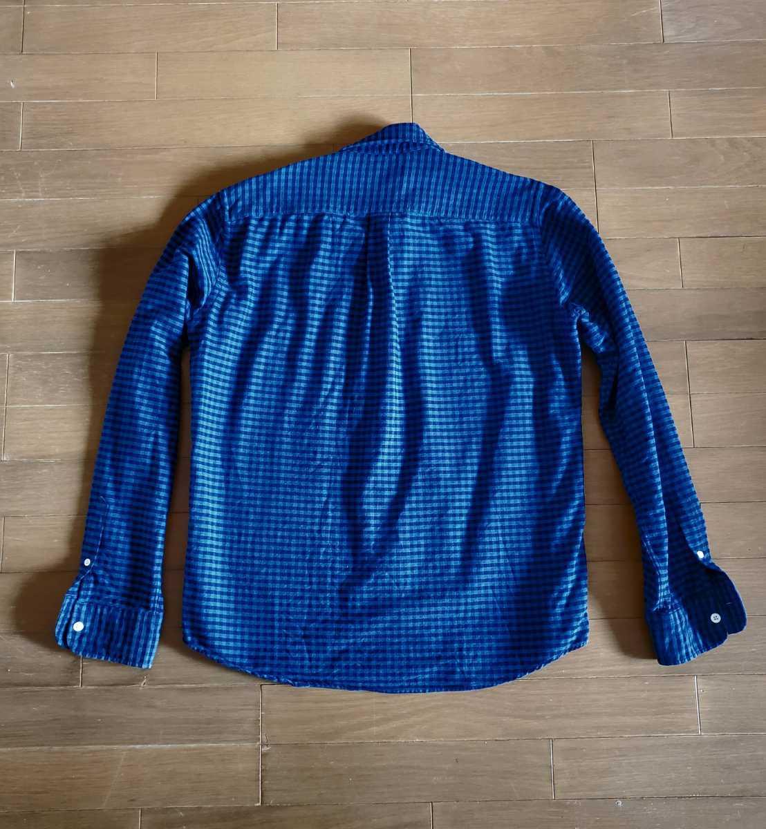 ナノユニバース nano universes チェックシャツ ブルー×ネイビー XLサイズ 2回だけ着用 ダメージ無しの超美品_画像2