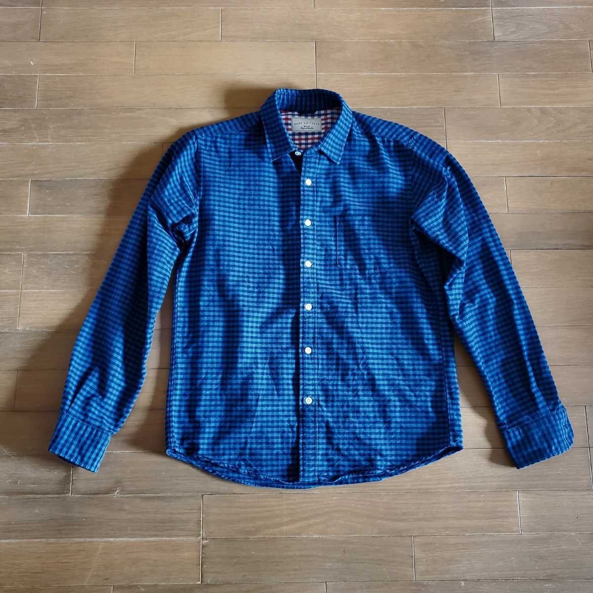 ナノユニバース nano universes チェックシャツ ブルー×ネイビー XLサイズ 2回だけ着用 ダメージ無しの超美品_画像1