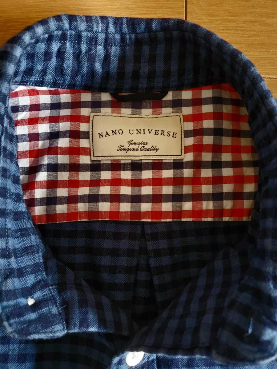 ナノユニバース nano universes チェックシャツ ブルー×ネイビー XLサイズ 2回だけ着用 ダメージ無しの超美品_画像3