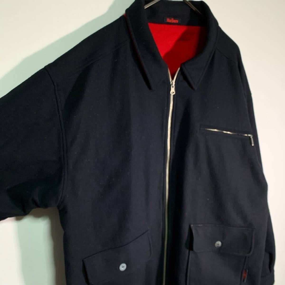 【送料込】90s Marlboro リバーシブル ウール ジャケット XL 黒×赤 ビッグシルエット ジップ マルボロ 80s ビンテージ 古着 オールド_画像2