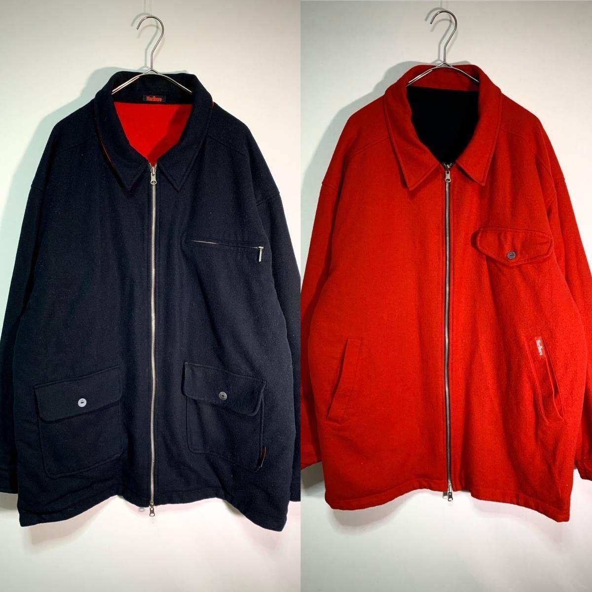 【送料込】90s Marlboro リバーシブル ウール ジャケット XL 黒×赤 ビッグシルエット ジップ マルボロ 80s ビンテージ 古着 オールド_画像1