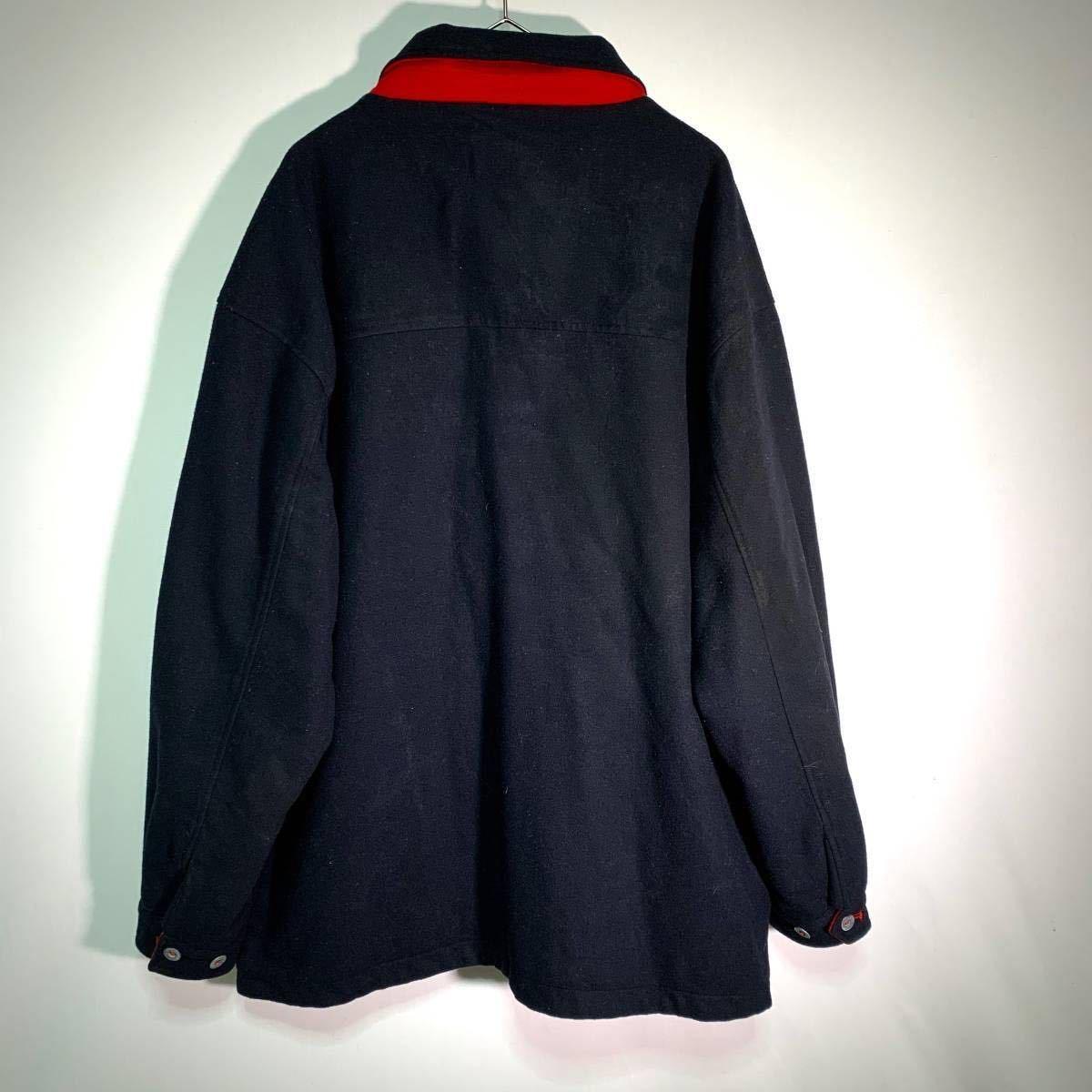 【送料込】90s Marlboro リバーシブル ウール ジャケット XL 黒×赤 ビッグシルエット ジップ マルボロ 80s ビンテージ 古着 オールド_画像4