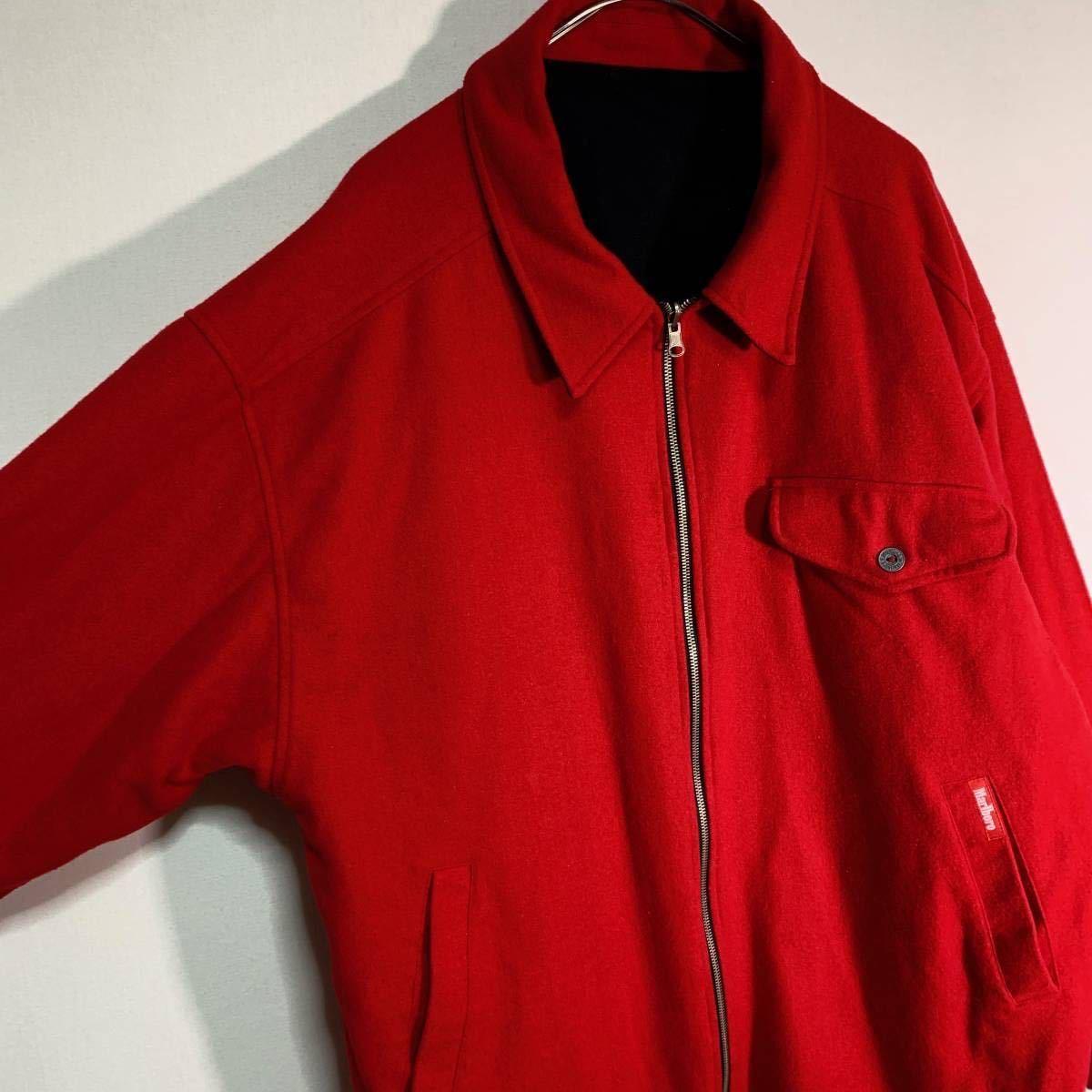 【送料込】90s Marlboro リバーシブル ウール ジャケット XL 黒×赤 ビッグシルエット ジップ マルボロ 80s ビンテージ 古着 オールド_画像6